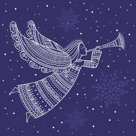 Angel with horn and snow in night sky with stars vector