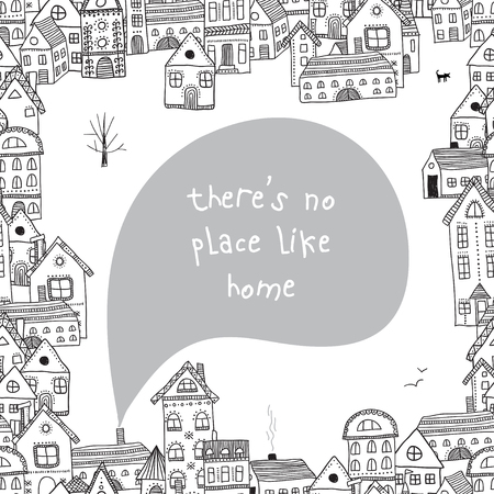 There is no place like home quote with houses frame vector illustration Stock Illustratie