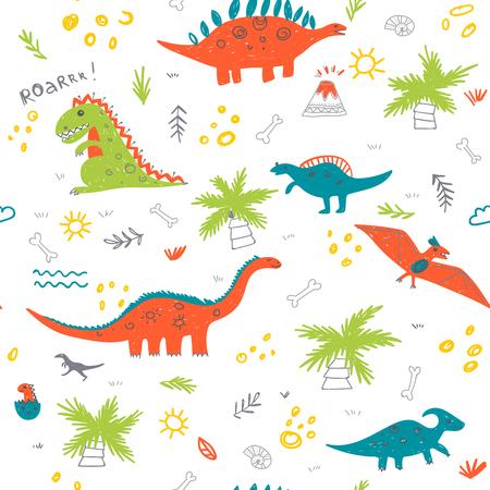 Reticolo infantile senza giunte di vettore con dinosauri colorati, vulcan, palma, conchiglia. Può essere stampato e utilizzato come carta da imballaggio, carta da parati, tessuto, tessuto, sfondo, ecc Vettoriali
