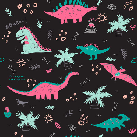 Vector seamless childish pattern with colorful dinosaurs, vulcan, palm tree, shell on black background. Can be printed and used as wrapping paper, wallpaper, fabric, textile, background, etc Illustration
