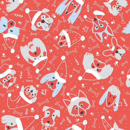 Vector seamless pattern with dogs in Santa Claus hat symbol on 2018 Chinese new Year. Can be printed and used as wrapping paper, wallpaper, textile, fabric, coloring page, etc.