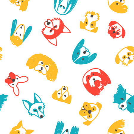 Vector seamless pattern with dogs symbol on 2018 Chinese new Year. Can be printed and used as wrapping paper, wallpaper, textile, fabric, coloring page, etc.