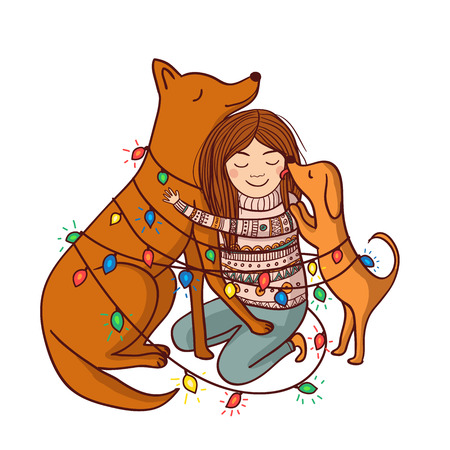 Vector Happy New Year illustration with girl and dogs with garlands and snow. Can be used and printed as card, postcard, placard, poster, invitation Çizim