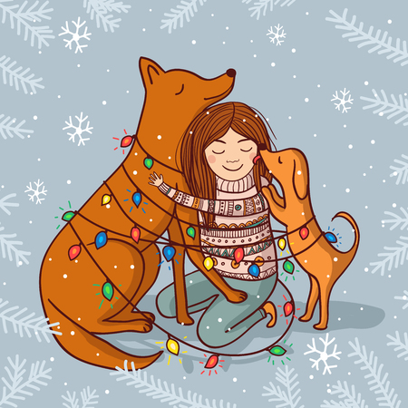 Vector Happy New Year illustration with girl and dogs with garlands and snow. Can be used and printed as card, postcard, placard, poster, invitation Illustration