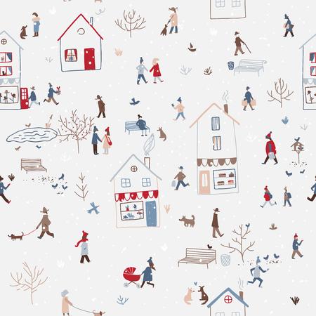 Modèle sans couture d'hiver Vector avec des personnes marchant dans la ville de Noël enneigée avec des maisons, chien, arbre, oiseaux, neige. Peut être imprimé et utilisé comme papier d'emballage, papier peint, textile, etc.