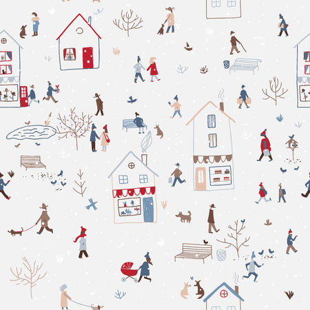 Vector winter seamless pattern with people walking in snowy Christmas city with houses, dog, tree, birds, snow. Can be printed and used as New Year wrapping paper, wallpaper, textile, etc.