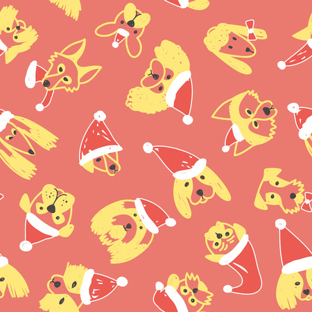 Vector seamless pattern with yellow dogs in Santa Claus hat symbol on 2018 Chinese new Year. Can be printed and used as wrapping paper, wallpaper, textile, fabric, coloring page, etc.