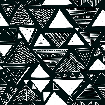 Vector seamless pattern with ethnic tribal boho trendy doodle triangular ornaments.