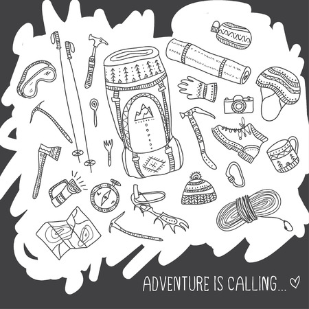 Adventure is calling card with climbing equipment like shoes, map and hat in ethnic ornate style.