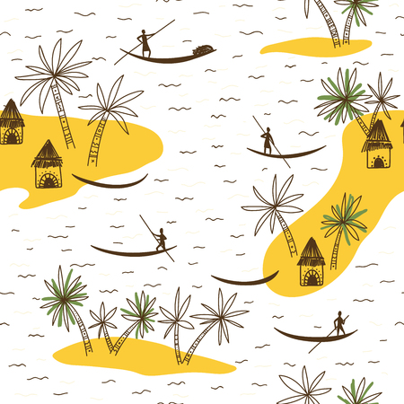 Abstract vector seamless pattern with African tribe houses and trees on white background.