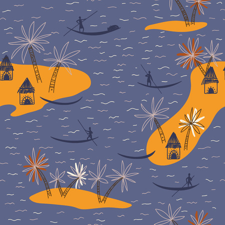 Abstract vector seamless pattern with African tribe houses and trees on blue background.