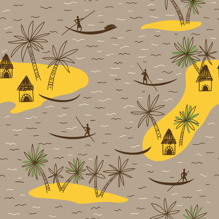 Abstract vector seamless pattern with African tribe houses and trees on brown background.