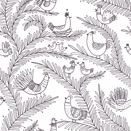 Vector seamless tropical pattern with birds on tree in boho ornament style. Illustration
