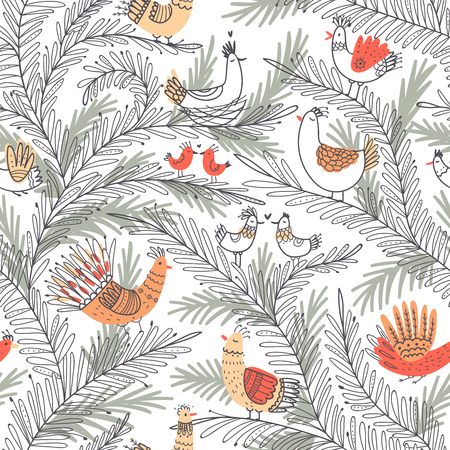 Vector seamless tropical pattern with birds on tree in love in boho ornament style.