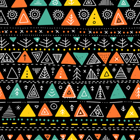 Vector seamless pattern with ethnic tribal boho trendy doodle triangle ornaments.