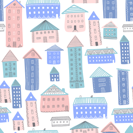 Abstract vector seamless pattern with houses on white background. Illustration