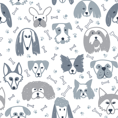 Vector seamless pattern with dogs symbol on 2018 Chinese new Year.