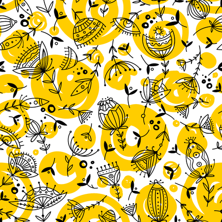 Vector seamless floral pattern in tribal boho ornament style.