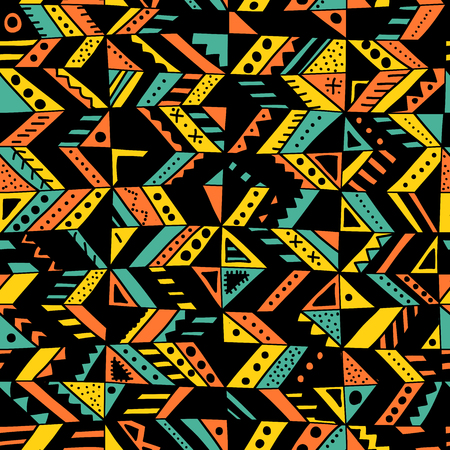 Vector seamless pattern with ethnic tribal hand-drawn trendy ornaments.