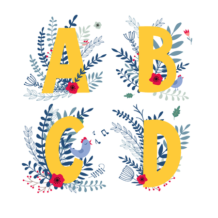 Alphabet,  letter a, b, c, d  in floral design with flowers and plants. Colorful ABC type in vector. Ilustração