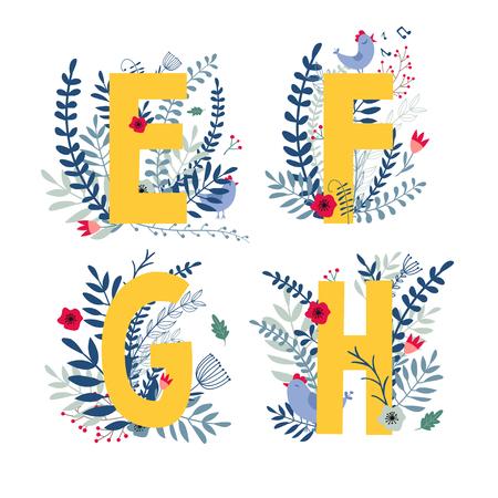 Alphabet, letter e, f, g, h set in floral design with flowers and plants. Illustration
