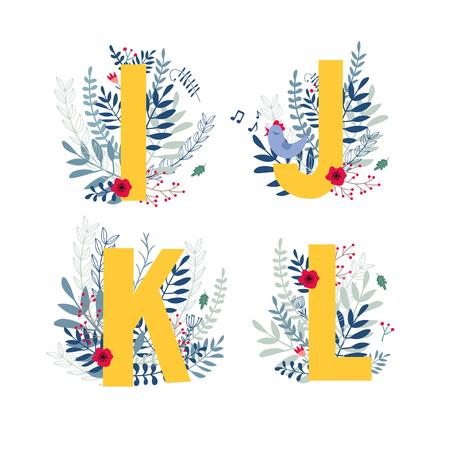 Alphabet, letter i, j, k, l set in floral design with flowers and plants. Illustration