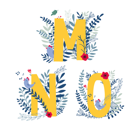Alphabet, letter m, n, o set in floral design with flowers and plants.