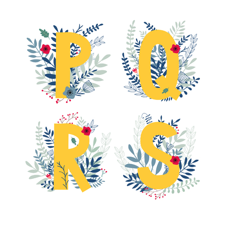 Alphabet, letter p, q, r, s set in floral design with flowers and plants. Ilustração