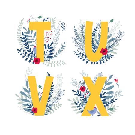 Alphabet, letter t, u, v, x set in floral design with flowers and plants.
