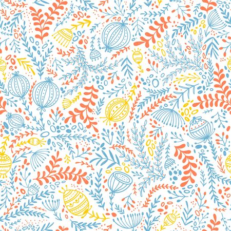 Ethnic style floral colorful seamless pattern. Illustration