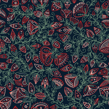 Vector seamless floral pattern in tribal boho ornament style. Can be printed and used as wrapping paper. Illustration