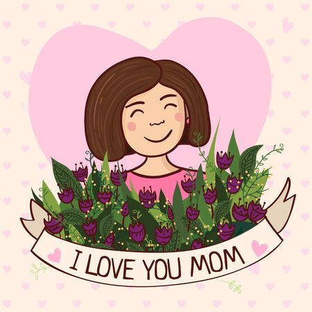 Vector illustration with charming woman with flowers and ribbon.
