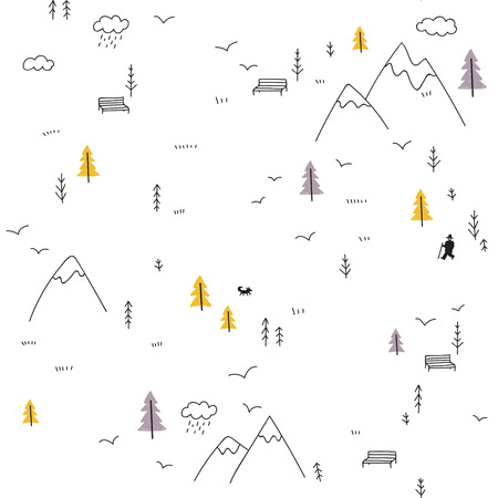 Vector minimal seamless pattern with wild forest life in mountains and man with dog, birds.