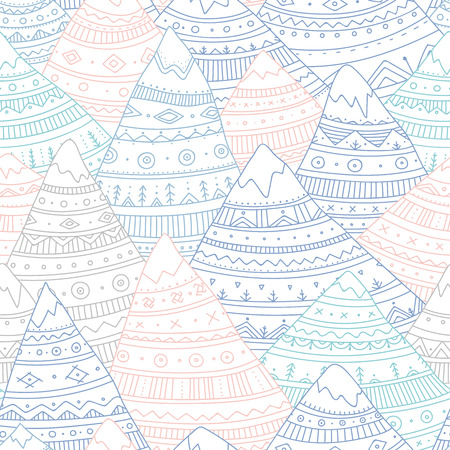 Vector seamless pattern with boho ornamental mountains. Can be printed and used as wrapping paper.