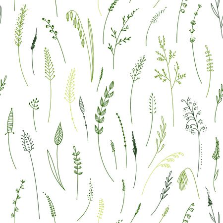Vector seamless pattern of herbs, plants, flowers and leaves, cereals, grass. Can be printed and used as wrapping paper. Illustration