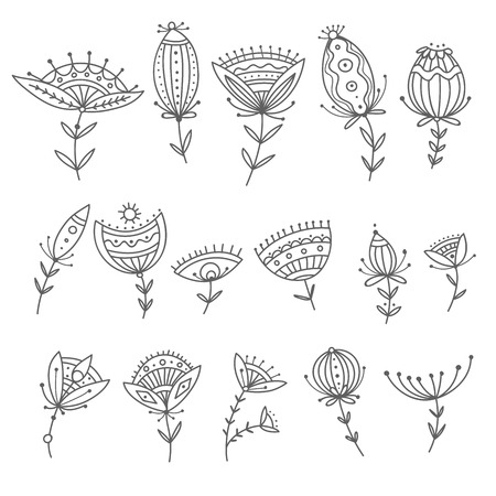 Vector set of tribal boho ornamental flowers. Can be used as design element, decoration. Illustration