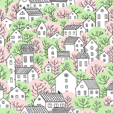 Trees and houses seamless pattern. Spring and summer city landscape. Illustration