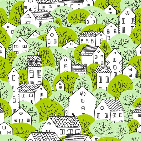 Trees and houses seamless pattern. Spring city landscape. Illustration