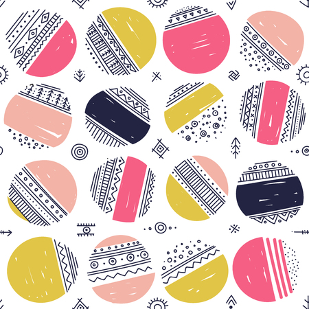 Vector seamless pattern with ethnic tribal boho trendy doodle circle ornaments.
