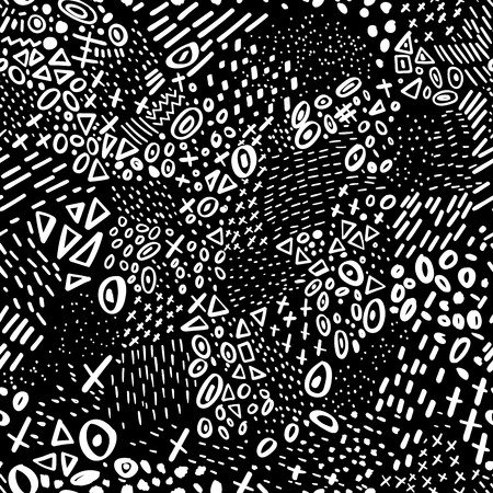 Vector abstract marker stroke doodle lines seamless pattern with circles, dots and triangle. Illustration
