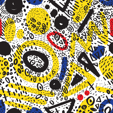 Vector abstract marker stroke doodling colorful lines seamless pattern. Illustration