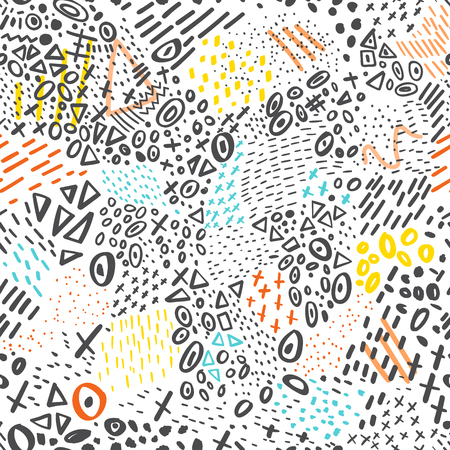 Vector abstract marker stroke doodling colorful lines seamless pattern. Can be used as a background.