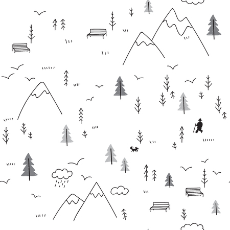 Vector seamless pattern with wild forest life in mountains and man with dog, birds.
