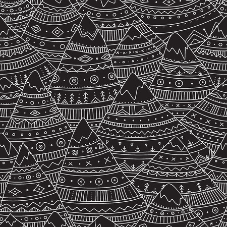 Vector seamless pattern with boho ornamental mountains.