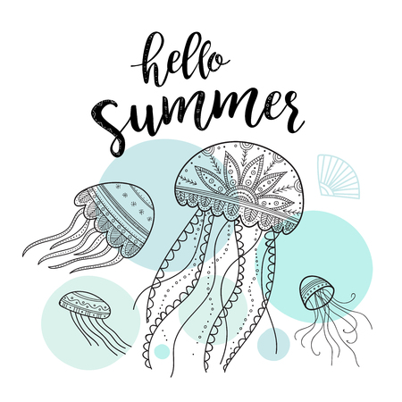 Hello summer greeting card with jellyfishes in boho style with ornaments. Can be printed and used as invitation, poster, placard, etc