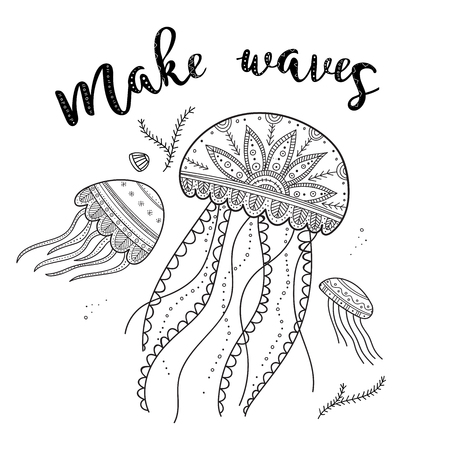 Make waves greeting card with jellyfishes in ethnic Boho style. Can be printed and used as placard, coloring page, invitation, banner, template, etc. Иллюстрация