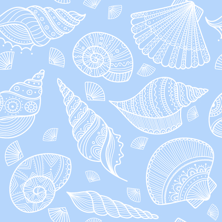 Vector seamless pattern with shells in ethnic boho style with ornaments. Can be printed and used as wrapping paper, wallpaper, textile, fabric, etc.