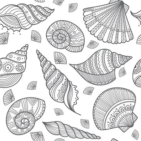 Vector seamless pattern with shells in ethnic boho style with ornaments. Can be printed and used as wrapping paper, coloring page, wallpaper, textile, fabric, etc.