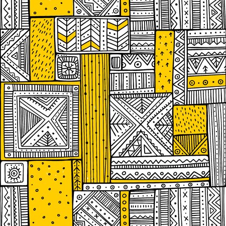 Tribal seamless pattern in boho style with ethnic African ornaments. Can be printed and used as wrapping paper, wallpaper, textile, fabric, etc. 写真素材 - 102935357