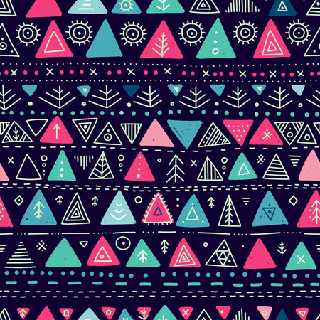 Vector seamless pattern with ethnic tribal boho trendy doodle triangle ornaments. Can be printed and used as wrapping paper, wallpaper, textile, fabric, etc.